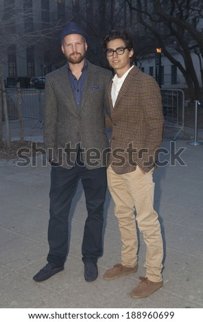 New York, NY - April 23, 2014: Jeremy Whelehan (L) and guest attend the Vanity Fair Party during the 2014 Tribeca Film Festival at the State Supreme Courthouse