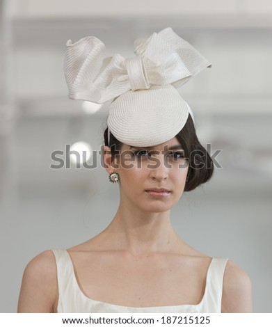 NEW YORK, NY - APRIL 13, 2014: Model walks runway for Junko Yoshioka runway show during bridal week at Studio Arte on 37th Street