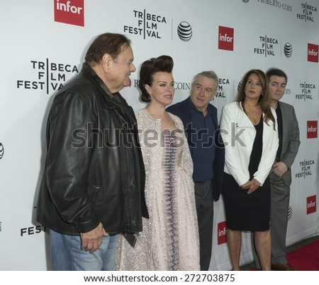 New York, NY - April 25, 2015: Paul Sorvino, Debi Mazar, Robert De Niro, Lorraine Bracco, Kevin Corrigan attend 25th anniversary screening Goodfellas during Tribeca Film Festival at Beacon theater