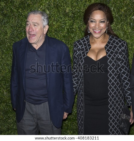 NEW YORK, NY - APRIL 18, 2016: Robert De Niro and Grace Hightower attend the 11th Annual Chanel Tribeca Film Festival Artists Dinner at Balthazar
