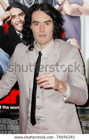 NEW YORK, NY - APRIL 5: Russell Brand attends the New York premiere of 'Arthur' at the Ziegfeld Theatre on April 5, 2011 in New York City. - stock photo