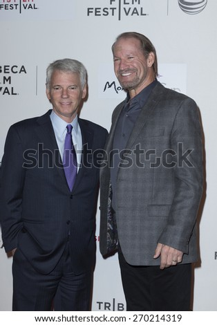 New York, NY - April 16, 2015: Sean Mcmanus and Bill Cowher attend Tribeca Film Festival premiere of Play it Forward film at BMCC Tribeca Performing Arts Center - stock photo