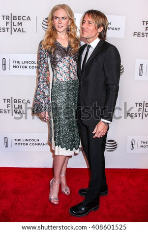 NEW YORK, NY - APRIL 16: Singer/ songwriter Keith Urban and actress/producer Nicole Kidman attend 'Youth In Oregon' Premiere - 2016 Tribeca Film Festival  on April 16, 2016 in New York City - stock photo