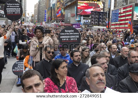 New York, NY - April 26, 2015: Thousands rally in Manhattan Times Square to mark centennial of the deaths of 1.5 million Armenians under the Ottoman Empire in 1915