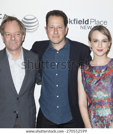 New York, NY - April 18, 2015: Tom Drury, Zachary Sluser and guest attends Tribeca Film Festival premiere of The Driftless Area film at BMCC Tribeca Performing Arts Center - stock photo