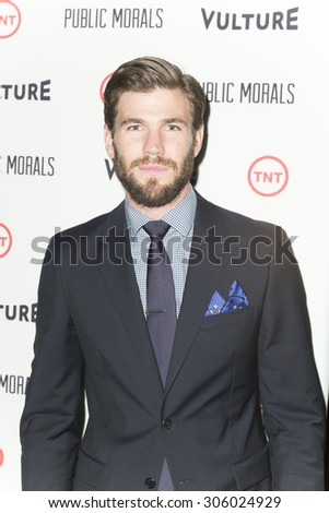 New York, NY - August 12, 2015: Austin Stowell attend the Public Morals New York series screening at Tribeca Grand Hotel Screening Room - stock photo