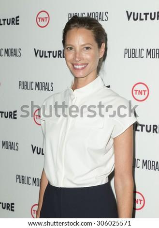 New York, NY - August 12, 2015: Christy Turlington Burns attend the Public Morals New York series screening at Tribeca Grand Hotel Screening Room - stock photo