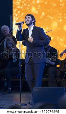 New York, NY - August 31, 2015: Josh Groban performs during Opening ceremony of US Open Championship at Arthur Ash stadium