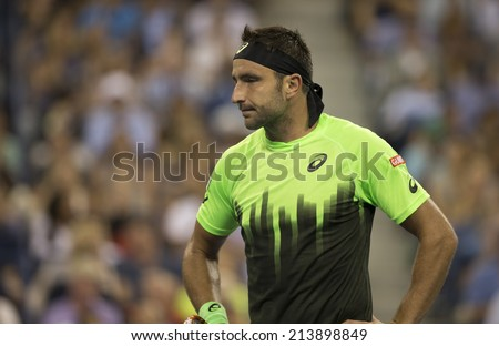 NEW YORK, NY - AUGUST 26: Marinko Matosevic of Australia reacts during 1st round match against Roger Federer of Switzerland at US Open tennis tournament in Flushing Meadows USTA Tennis Center - stock photo