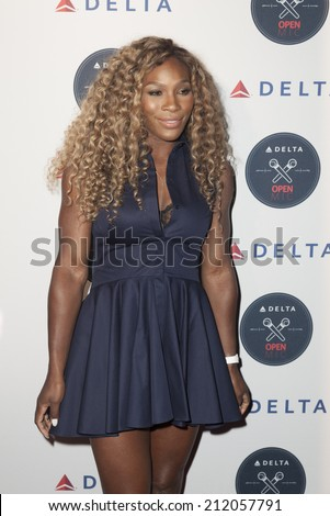 NEW YORK, NY - AUGUST 20, 2014: Serena Williams attends Delta Open Mic Karaoke A-Game at Arena - stock photo