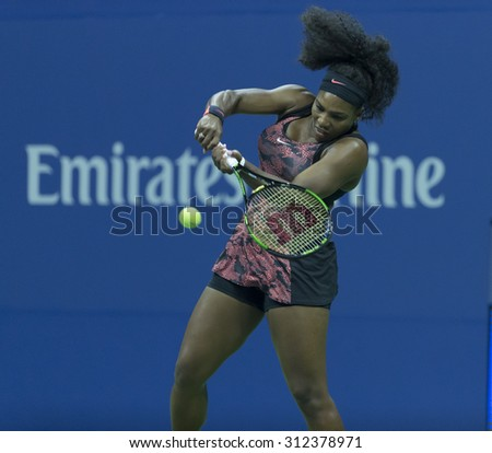 New York, NY - August 31, 2015: Serena Williams of USA returns ball durung 1st round match against Vitalia Diatchenko of Russia at US Open Championship - stock photo