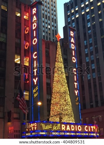 NEW YORK, NY - DEC 20: Christmas decor at Radio City, entertainment venue located in Rockefeller Center, in New York, as seen on Dec 20, 2015. Its interior was declared a city landmark in 1978. - stock photo