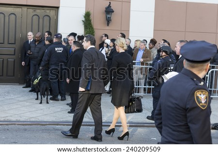 NEW YORK, NY - DECEMBER 27, 2014: NY State governor Andrew Cuomo & Sandra Lee arrive at Christ Tabernacle Church for the funeral of slain New York City Police Officer Rafael Ramos