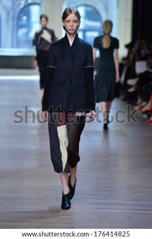 NEW YORK, NY - FEBRUARY 09: A model walks during the Yigal Azrouel fashion show on February 9, 2014 in New York City.