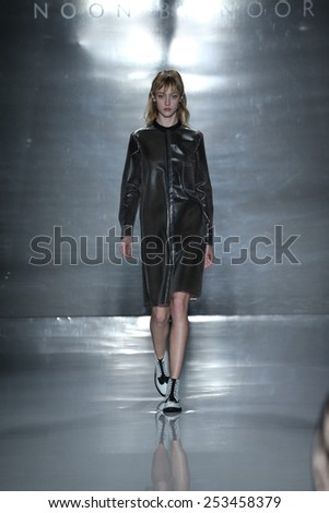 NEW YORK, NY - FEBRUARY 14: A model walks the runway at Noon by Noor fashion show during Mercedes-Benz Fashion Week Fall 2015 at Lincoln Center on February 14, 2015 in New York City - stock photo
