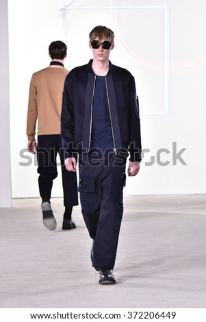 NEW YORK, NY - FEBRUARY 02: A model walks the runway at the General Idea Fall/Winter 2016 Collection during NYFW Mens Fall/Winter 2016 at Skylight at Clarkson Sq on February 2, 2016 in New York City. - stock photo