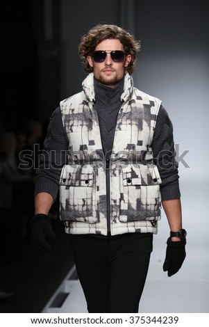 NEW YORK, NY - FEBRUARY 02: A  model walks the runway at the Nautica Men's Fall 2016 fashion show during New York Fashion Week Men's Fall/Winter 2016 on February 2, 2016 in NYC.