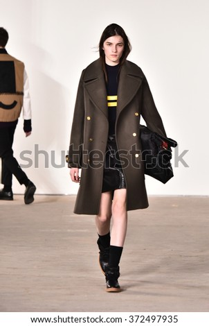 NEW YORK, NY - FEBRUARY 03: A model walks the runway at Tim Coppens fashion show during the New York Fashion Week Men's Fall/Winter 2016 at Skylight at Clarkson Sq on February 3, 2016 in NYC