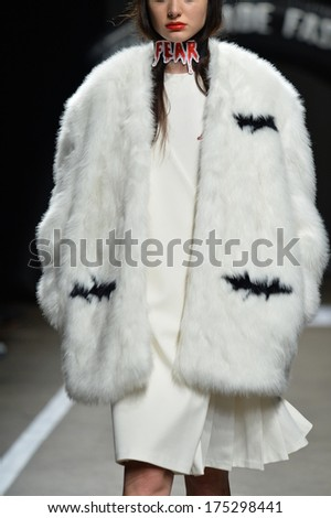 NEW YORK, NY - FEBRUARY 05: A model walks the runway for the designs of Heyein Seo for VFiles Made Fashion 2 show during Mercedes Benz Fashion Week at Eyebeam on February 5, 2014 in New York City.