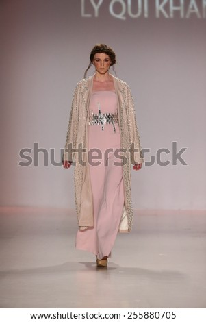 NEW YORK, NY - FEBRUARY 19: A model walks the runway in a design by Ly Qui Khanh  at the New York Life fashion show during MBFW Fall 2015 at Lincoln Center on February 19, 2015 in NYC.  - stock photo