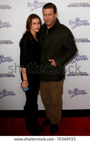 "NEW YORK, NY - FEBRUARY 02: Actor Stephen Baldwin and daughter Hailey attend the ""Justin Bieber: Never Say Never"" New York premiere at the Regal E-Walk 13 Theater on February 2, 2011 in New York City. - stock photo"