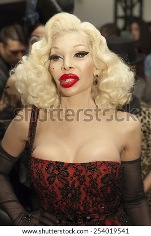 New York, NY - February 18, 2015: Amanda Lepore attends The Blonds Fashion show as part of New York Fashion Week at Milk studio