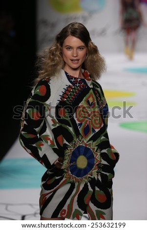 NEW YORK, NY - FEBRUARY 12: Behati Prinsloo walks the runway at the Desigual fashion show during Mercedes-Benz Fashion Week Fall 2015 at Lincoln Center on February 12, 2015 in New York City. - stock photo