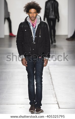 New York, NY - February 14, 2016: Brandon Bailey walks the runway at rehearsal for Custo Barcelona Fall 2016 fashion show during New York Fashion Week