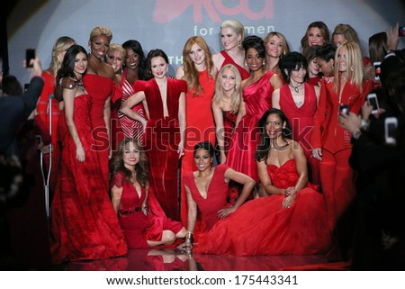NEW YORK, NY - FEBRUARY 06: Celebrity models gather at the end of the runway at Go Red For Women - The Heart Truth Red Dress Collection 2014 Show on February 6, 2014 in New York City. - stock photo