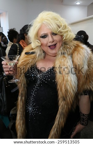 NEW YORK, NY - FEBRUARY 12: Comedian Sultana Lips attends the Helen Yarmak presentation during MBFW Fall 2015 at 730 Fifth Avenue on February 12, 2015 in NYC - stock photo