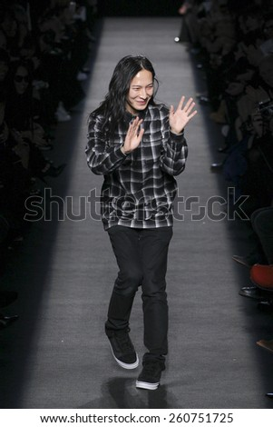 NEW YORK, NY - FEBRUARY 14: Designer Alexander Wang walks the runway after the Alexander Wang during MBFW in New York at Pier 94 on February 14, 2015 in NYC. - stock photo