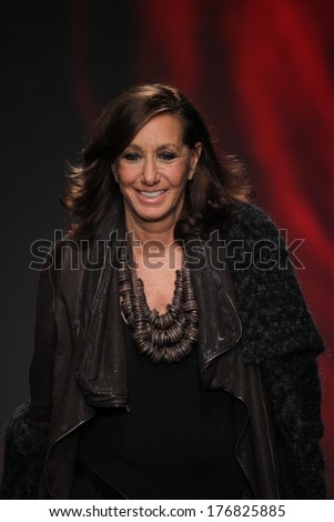 NEW YORK, NY - FEBRUARY 09: Designer Donna Karan walks the runway at the DKNY Women's fashion show during Mercedes-Benz Fashion Week Fall 2014 on February 9, 2014 in New York City.