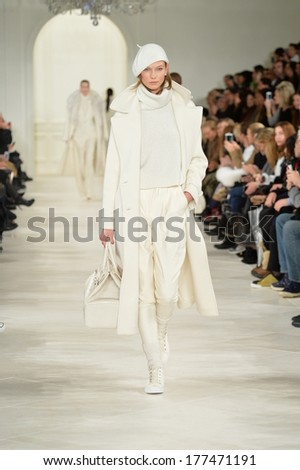 NEW YORK, NY - FEBRUARY 13: Karlie Kloss walks the runway at the Ralph Lauren fashion show during Mercedes-Benz Fashion Week Fall 2014 on February 13, 2014 in New York City.