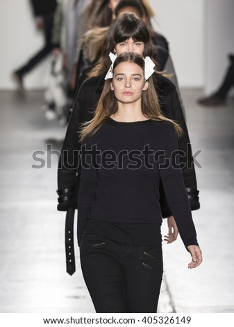 New York, NY - February 14, 2016: Laura Escanes walks the runway at rehearsal for Custo Barcelona Fall 2016 fashion show during New York Fashion Week