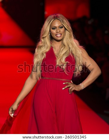 New York, NY - February 12, 2015: Laverne Cox in Donna Karan dress walks runway for the Heart Truth Red Dress Collection 2015 fashion show as part of Fall 2015 Mercedez-Benz Fashion Week - stock photo