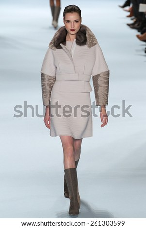 NEW YORK, NY - FEBRUARY 16: Model Jane Gryennikova walks the runway wearing Carolina Herrera Fall 2015 Collection during MBFW at Lincoln Center on February 16, 2015 in NYC - stock photo