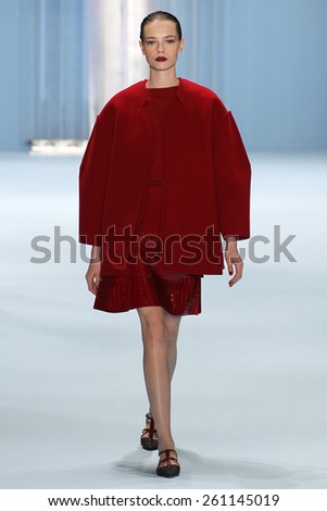 NEW YORK, NY - FEBRUARY 16: Model Mina Cvetkovic walks the runway wearing Carolina Herrera Fall 2015 Collection during MBFW at Lincoln Center on February 16, 2015 in NYC - stock photo