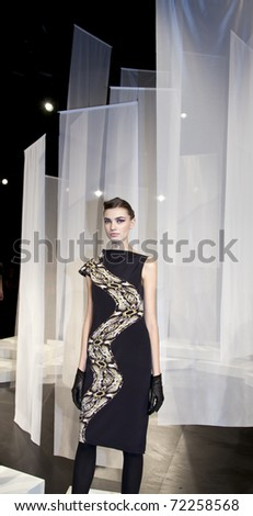 NEW YORK, NY - FEBRUARY 13: Model poses at the Yoana Baraschi Fall 2011 presentation during Mercedes-Benz Fashion Week at The Box at Lincoln Center on February 13, 2011 in New York City.