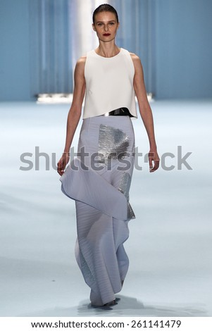 NEW YORK, NY - FEBRUARY 16: Model Vasilisa Pavlova walks the runway wearing Carolina Herrera Fall 2015 Collection during MBFW at Lincoln Center on February 16, 2015 in NYC - stock photo