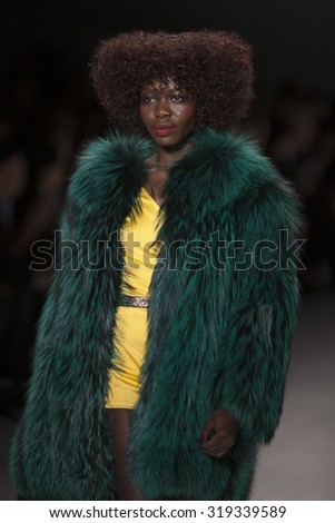 New York, NY - February 17, 2015: Model walks for Georgine Fall Winter 2015 Collection at Lincoln Center during Mercedes Benz Fashion Week - stock photo