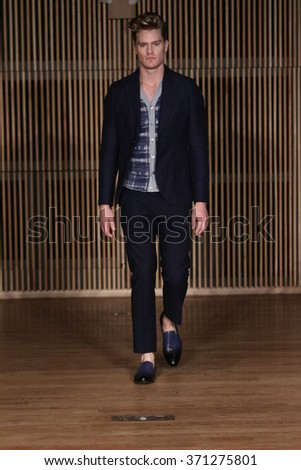NEW YORK, NY - FEBRUARY 01: Model walks runway at the Loris Diran fashion show during New York Fashion Week Men's F/W 2016 at Dimenna Center for Classical Music on February 1, 2016 in N - stock photo