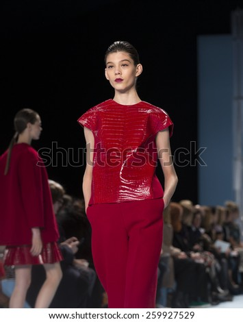 New York, NY - February 16, 2015: Model walks runway for collection by Carolina Herrera during Fall 2015 Fashion Week in Lincoln Center - stock photo