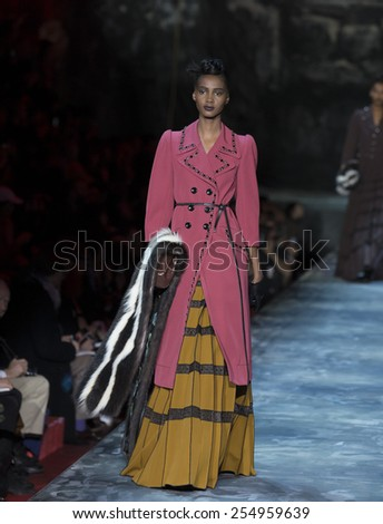 New York, NY - February 19, 2015: Model walks runway for Marc Jacobs during Fall 2015 Fashion Week at Park Avenue Armory - stock photo