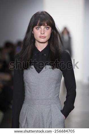 New York, NY - February 12, 2015: Model walks runway for Marissa Webb collection during Fashion Week Fall 2015 at Milk Studios - stock photo