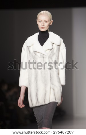 NEW YORK, NY - FEBRUARY 15: Model walks the runway for Ranfan Fashion Show Fall Winter 2015 Collection during Mercedes Benz Fashion Week 2015 at The Lincol Center on February 15, 2015 in NYC