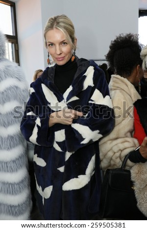 NEW YORK, NY - FEBRUARY 12: Models poses during Helen Yarmak presentation during MBFW Fall 2015 at 730 Fifth Avenue on February 12, 2015 in NYC - stock photo