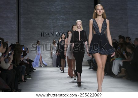 New York, NY - February 14, 2015: Models walk runway for Idan Cohen show at Fall 2015 Fashion Week at Lincoln Center - stock photo