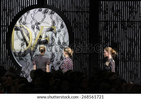 NEW YORK, NY - FEBRUARY 15: Models walk the runway at the Diane Von Furstenberg fashion show during MBFW Fall 2015 at Spring Studios on February 15, 2015 in NYC