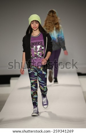 NEW YORK, NY - FEBRUARY 12: Models walk the runway at the Nike Levi's Kids fashion show during Mercedes-Benz Fashion Week Fall 2015 at Lincoln Center on February 12, 2015 in NYC