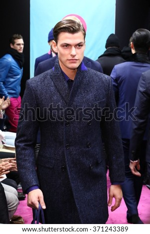 NEW YORK, NY - FEBRUARY 01: Models walk the runway finale at the Stephen F fashion show during New York Fashion Week Men's Fall/Winter 2016 on February 1, 2016 in New York City. - stock photo